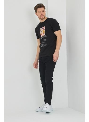 XHAN Gri Baskılı T-Shirt 1Kxe1-44623-03 Siyah